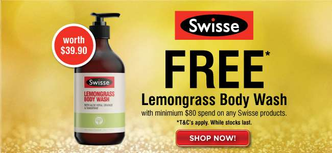 Swisse Free Lemongrass Body Wash with min. $80 spend on any Swisse products