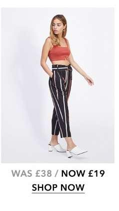 PETITE Multi Stripe Paperbag Trousers