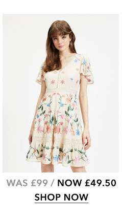 Nude Embroidered Mini Skater Dress