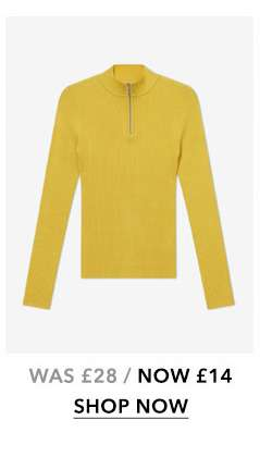 Yellow Zip Funnel Knitted Top