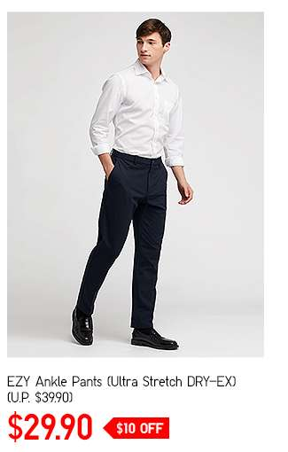 Men's EZY Ankle Pants (Ultra stretch DRY-EX at $29.90)
