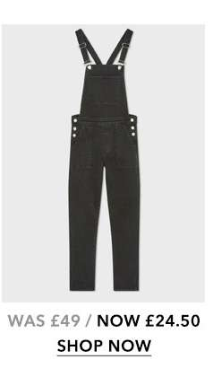 Black Relaxed Skinny Dungaree