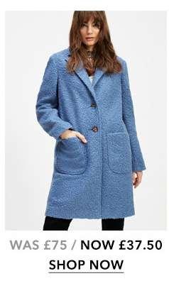 Blue Boucle Pocket Coat