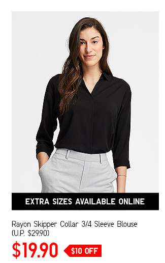 Women's Rayon Skipper Collar 3/4 Sleeve Blouse at $19.90