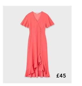 Pink Wrap Midi Dress