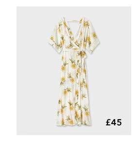 Ivory Floral Print Kimono Sleeve Maxi Dress