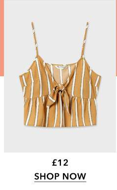 Tan Striped Tie Front Camisole Top