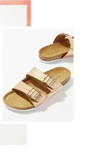ESMARELDA Rose Gold Buckle Sandals