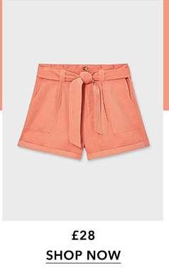 Pink Utility Paperbag Shorts