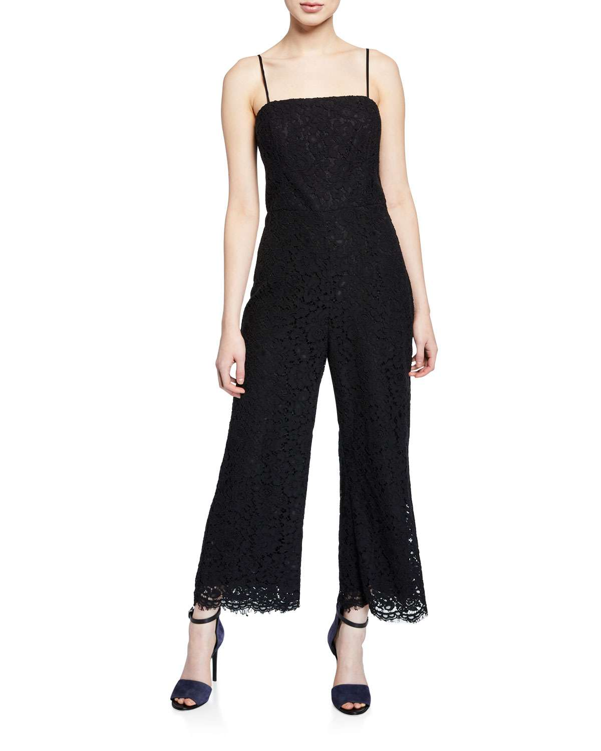 Sienna Sleeveless Cropped Scallop Lace Jumpsuit