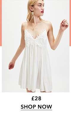 White Lace Trim Camisole Mini Dress