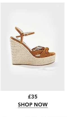 WALLICE Tan Twist Knot Wedge Sandals
