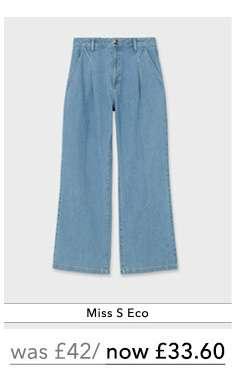 Light Blue Denim Pleat Front Wide Leg Jeans