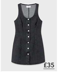 Black Button Through Denim Dress