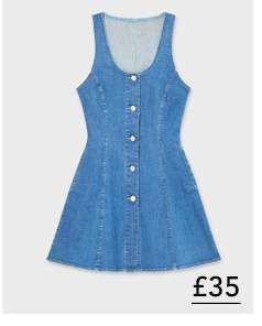 Blue Button Through Fit And Flare Dress
