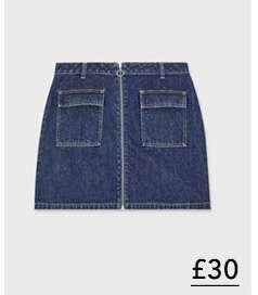 Blue Zip Through Skirt