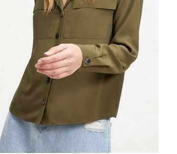 Khaki Utility Satin Shirt