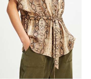 Tan Snake Print Drawstring Waist Shirt