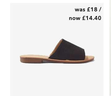 ELISE Black Flat Mule Sandals