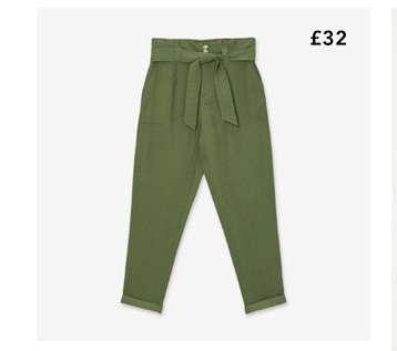 Khaki Utility Paperbag Trouser