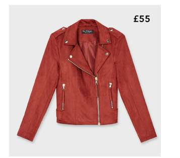 Burgundy Suedette Biker Jacket