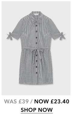 Black Gingham Print Shirt Dress