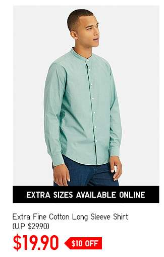 Men's Extra Fine Cotton Long Sleeve Shirt at $19.90