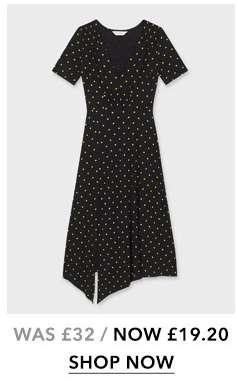 Black and Yellow Pindot Print Shirred Midi Tea Dress