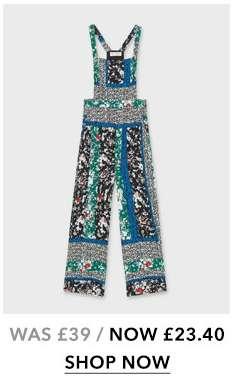 Green Kelly Spliced Print Pinafore Jumpsuit