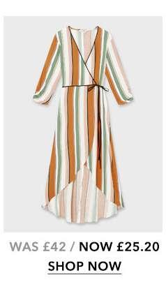 Rust Stripe Print Wrap Midi Tea Dress