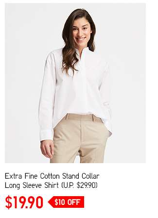 Extra Fine Cotton Stand Collar Long Sleeve Shirt at $19.90