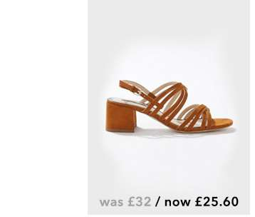 SARA Tan Multi Strap Heeled Sandal