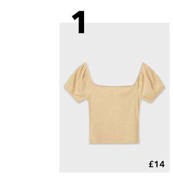 Tan Short Sleeve Textured Puff Sleeve