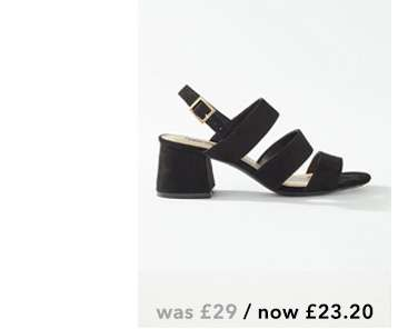 SIENNA Black 3 Strap Heeled Sandals