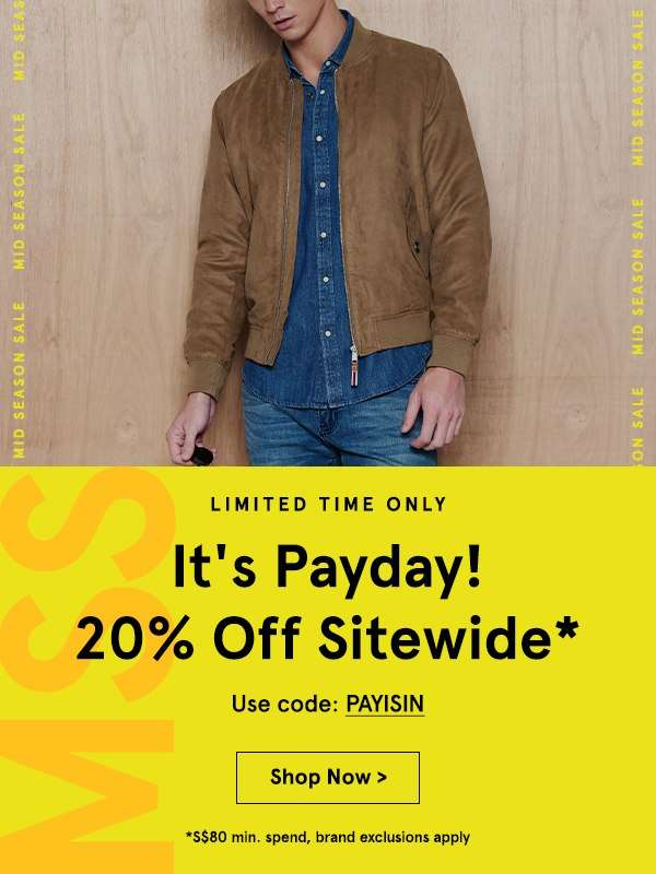 It's payday! Take 20% Off Sitewide