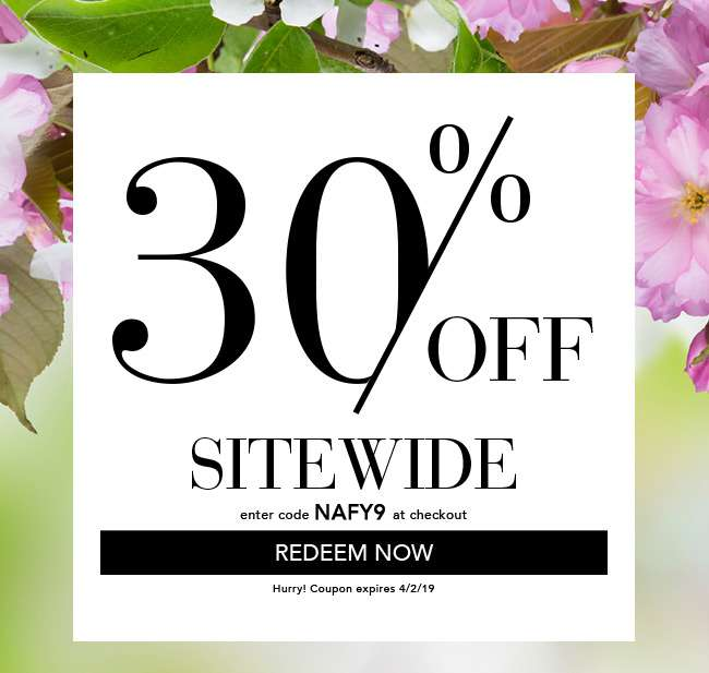 30% Off Sitewide. Enter Code: NAFY9. Redeem Now. Coupon expires 4/2/19.