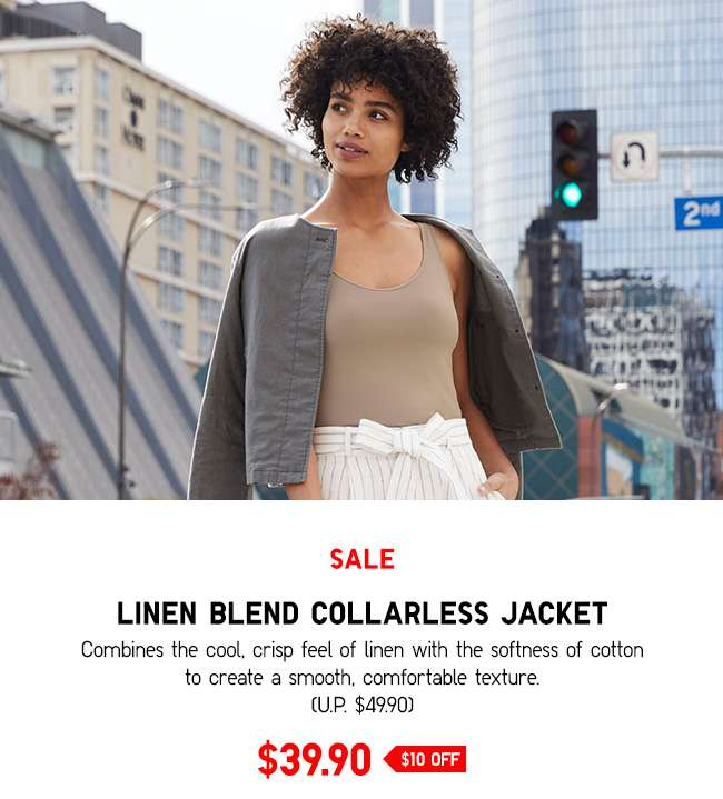 Linen Blend Collarless Jacket at $39.90