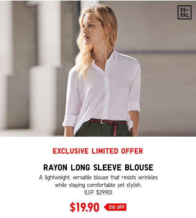 Rayon Long Sleeve Blouse at $19.90