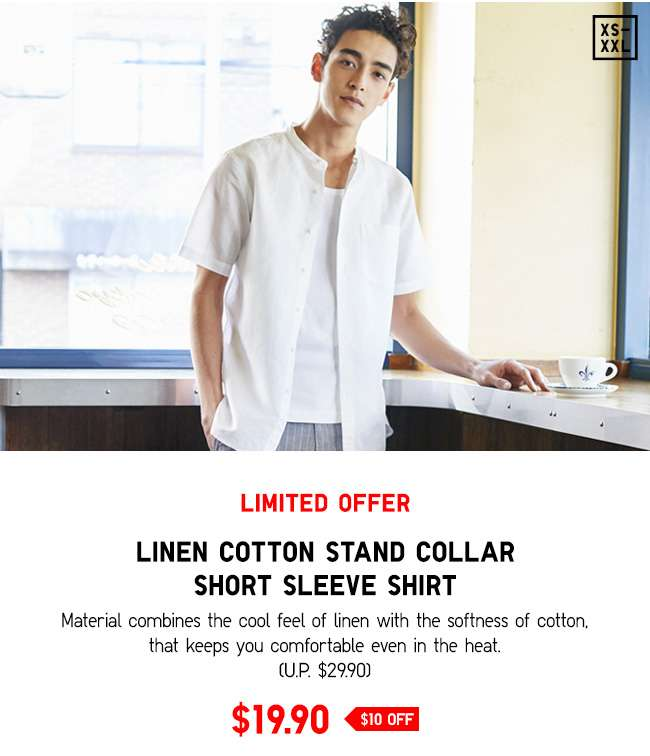 Linen Cotton Stand Collar Short Sleeve Shirt at $19.90