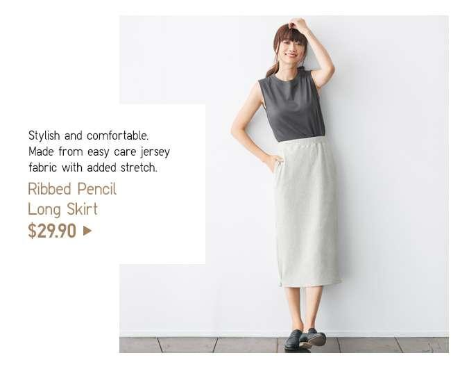 Ribbed Pencil Long Skirt at $29.90