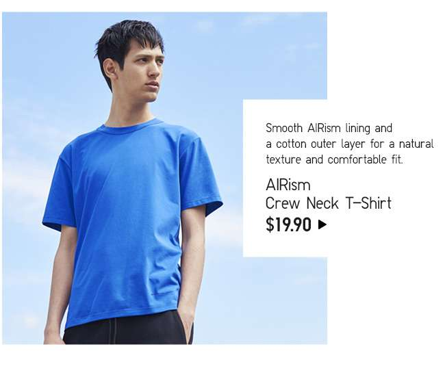 AIRism Crew Neck Short Sleeve T-Shirt at $19.90