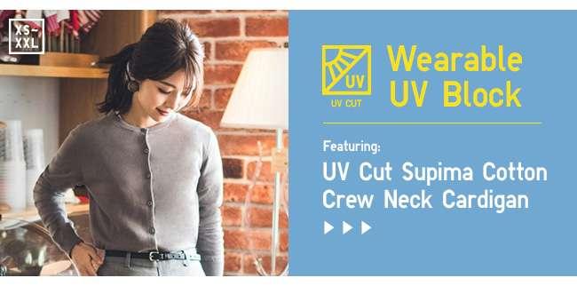 Shop UV Cut Supima Cotton Crew Neck Cardigan
