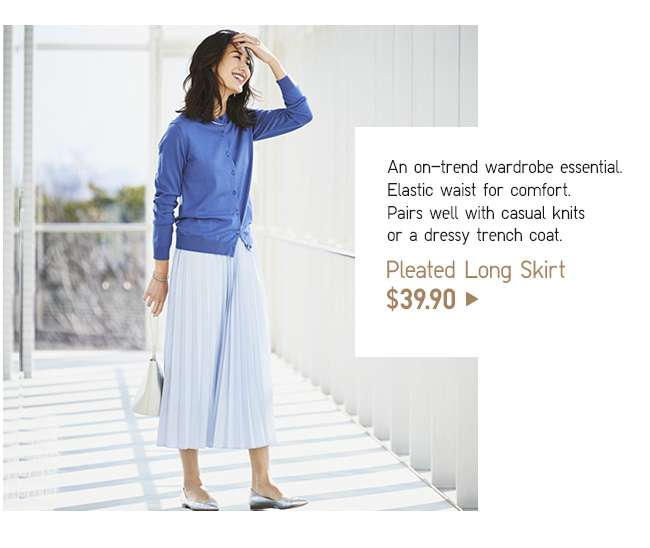 Pleated Long Skirt at $39.90