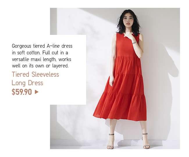 Tiered Sleeveless Long Dress at $59.90