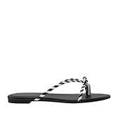 STRAPPY BOW BLACK AND WHITE STRIPE SANDALS