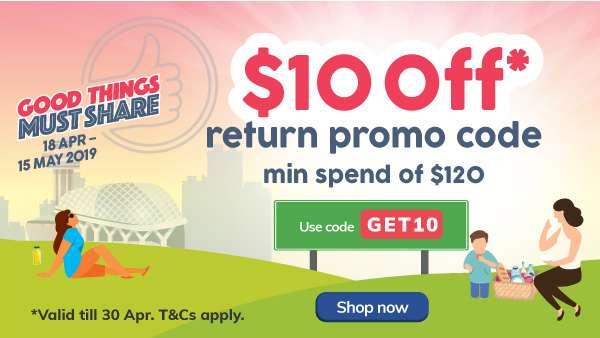 $10 off* return promo code min spend of $120
