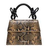 DOUBLE BOW LEATHER TOP HANDLE SNAKE PRINT BAG
