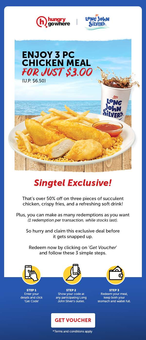 Long John Silver's - Enjoy 3 pc chicken meal for just $3 (U.P. $6.50)