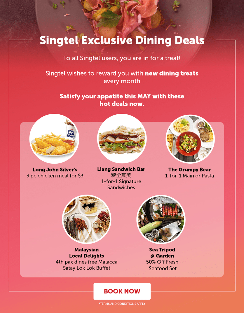 Singtel Exclusive Dining Deals: 1-for-1 signature sandwich/main/pasta, $3 chicken meal (U.P $6.50), and more
