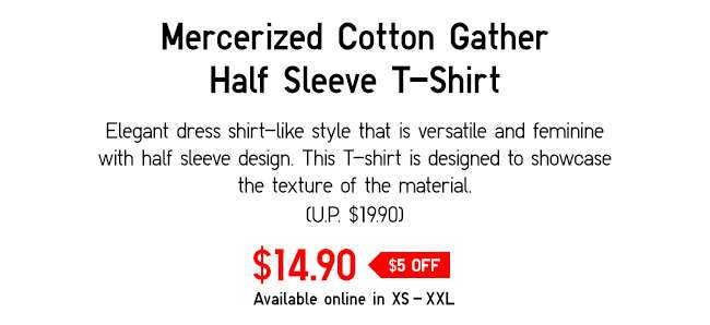 Mercerized Cotton Gather Half Sleeve T-Shirt | Elegant dress-like shirt that is versatile and feminine with half sleeve design.